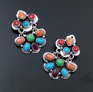 Roie Jaque (Navajo) - Double Cluster Multistone & Sterling Silver Clip-On Earrings #43901 $325.00