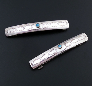 Randall Dalgai (Navajo) - Small Turquoise Accented Stamped Sterling Silver Hair Barrette Set #34155 $35.00