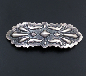 Tim Yazzie (Navajo) - Repoussé & Stamped Satin Finished Sterling Silver Hair Barrette #41070 $80.00