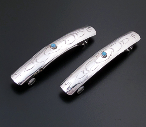 Randall Dalgai (Navajo) - Turquoise Accented Stamped Sterling Silver Hair Barrette Set #41314A $40.00