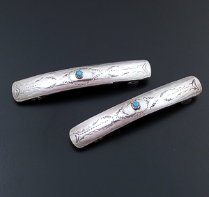 Randall Dalgai (Navajo) - Turquoise Accented Stamped Sterling Silver Hair Barrette Set #41314B $40.00