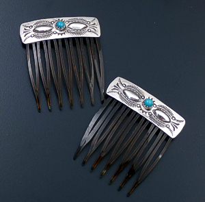 Jennie Blackgoat (Navajo) - Turquoise Accented Stamped Sterling Silver Hair Comb Set #6066 $40.00