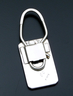Frances Johnson (Navajo) - Grooved Rectangular Sterling Silver Key Ring #36939 $140.00
