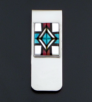 Zuni - Multistone Inlay Sterling Silver & Stainless Steel Money Clip #23191A $50.00