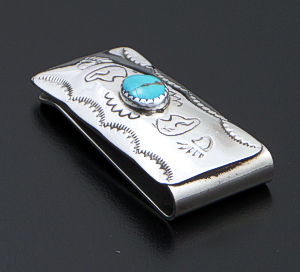 Arlene Tsosie (Navajo) - Turquoise Sterling Silver & Stainless Steel Stamped Money Clip #38120A $40.00
