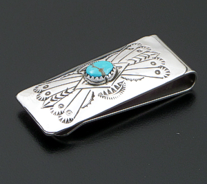 Arlene Tsosie (Navajo) - Turquoise Sterling Silver & Stainless Steel Stamped Money Clip #38120B $40.00