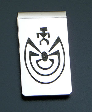 Hopi - Man In The Maze Overlay Sterling Silver Money Clip #39879B $70.00