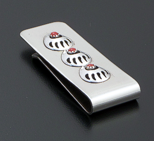 Virginia John (Navajo) - Coral Sterling Silver & Stainless Steel Triple Bear Track Money Clip #42731 $25.00