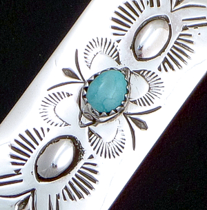 Bertha Begay (Navajo) - Turquoise Repoussé & Stamped Sterling Silver & Stainless Steel Money Clip #6142 $40.00
