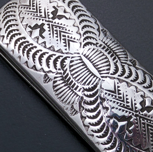 Navajo - Intricately Stamped Domed Sterling Silver Money Clip #920 $45.00