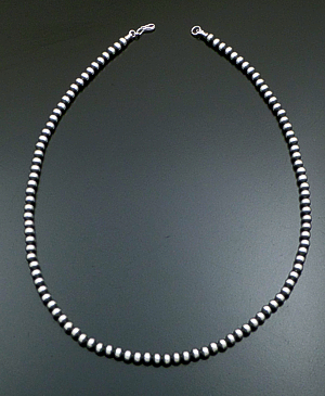 "Marilyn Platero (Navajo) - 24"" 6mm Navajo Pearl Burnished Sterling Silver Bead Necklace #23548 $210.00"