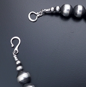 "Marilyn Platero (Navajo) - 26"" 12mm Navajo Pearl Burnished Sterling Silver Bead Necklace #23971 $660.00"