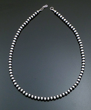 "Marilyn Platero (Navajo) - 20"" 6mm Navajo Pearl Burnished Sterling Silver Bead Necklace #24056 $175.00"