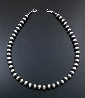 "Marilyn Platero (Navajo) - 20"" 10mm Navajo Pearl Burnished Sterling Silver Bead Necklace #26297 $390.00"