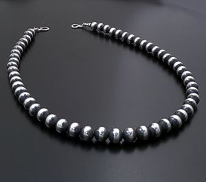 "Marilyn Platero (Navajo) - 22"" Navajo Pearl 10mm Burnished Sterling Silver Bead Necklace #27409 $420.00"