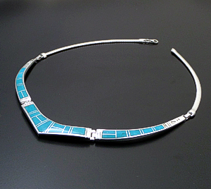 "Supersmith Inc. - David Rosales Designs - 17"" Arizona Blue Inlay & Sterling Silver Triple Panel Omega Necklace #28780 Style N155 $725.00"