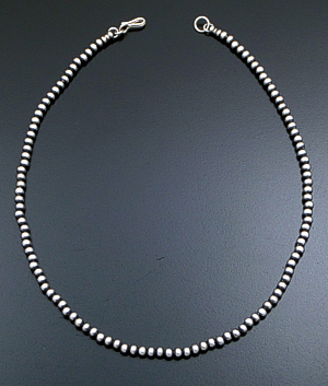"Marilyn Platero (Navajo) - 16"" 4mm Navajo Pearl Burnished Sterling Silver Bead Necklace #29117 $80.00"