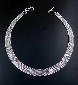 "Elgin Tom (Navajo) - 15"" to 16"" Textured Maze Sterling Silver Hinged Panel Necklace #31480 $660.00"