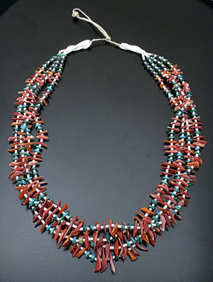 Joanne Tenorio - Spiny Oyster Shell, Turquoise, and Clam Shell Necklace #34747 $325.00
