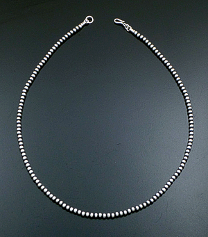 "Marilyn Platero (Navajo) - 20"" 4mm Navajo Pearl Burnished Sterling Silver Bead Necklace #35248 $105.00"