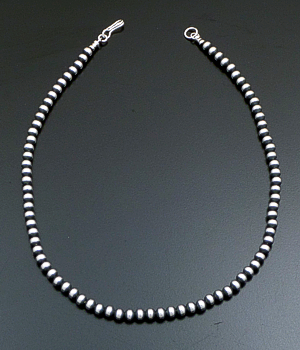 "Marilyn Platero (Navajo) - 16"" 5mm Navajo Pearl Burnished Sterling Silver Bead Necklace #38387 $95.00"