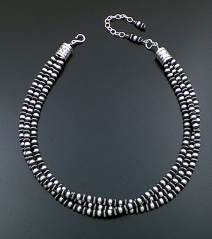 "Marilyn Platero & Geneva Apachito (Navajo) - 18"" to 21.5"" Triple Strand Mixed 6mm Burnished Sterling Silver Bead Necklace #38960 $540.00"