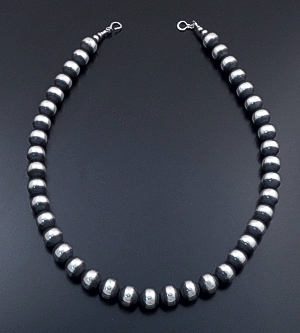 "Marilyn Platero (Navajo) - 24"" 14mm Navajo Pearl Burnished Sterling Silver Bead Necklace #38963 $750.00"