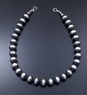 "Marilyn Platero (Navajo) - 18"" 14mm Navajo Pearl Burnished Sterling Silver Bead Necklace #38964 $525.00"