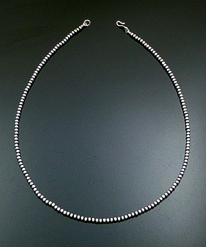 "Marilyn Platero (Navajo) - 24"" 4mm Navajo Pearl Burnished Sterling Silver Bead Necklace #39000 $120.00"