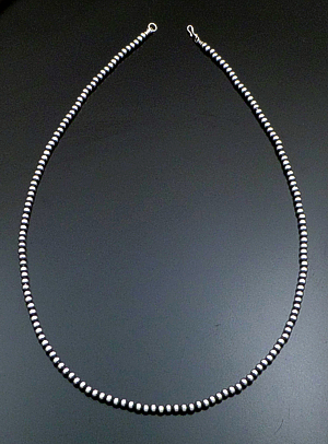"Marilyn Platero (Navajo) - 30"" 5mm Navajo Pearl Burnished Sterling Silver Bead Necklace #39047 $170.00"
