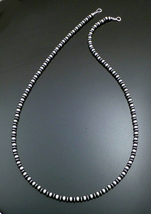 "Marilyn Platero (Navajo) - 36"" 7mm Mixed Burnished Sterling Silver Bead Necklace #39049 $420.00"