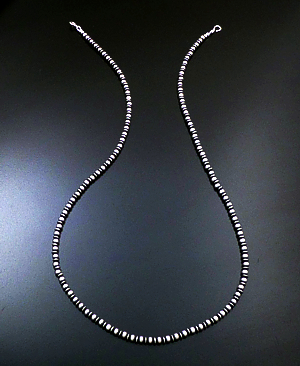 "Marilyn Platero (Navajo) - 30"" 5mm Mixed Burnished Sterling Silver Bead Necklace #39051 $255.00"