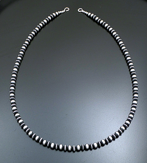 "Marilyn Platero (Navajo) - 30"" 8mm Mixed  Burnished Sterling Silver Bead Necklace #39054 $440.00"