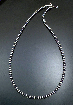 "Marilyn Platero (Navajo) - 36"" 8mm Mixed  Burnished Sterling Silver Bead Necklace #39055 $495.00"