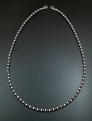 "Marilyn Platero (Navajo) - 30"" 6mm Mixed Burnished Sterling Silver Bead Necklace #39056 $350.00"