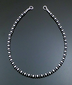 "Marilyn Platero (Navajo) - 18"" 6mm Mixed Burnished Sterling Silver Bead Necklace #39423 $210.00"