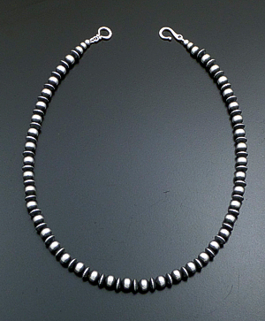 "Marilyn Platero (Navajo) - 18"" 7mm Mixed Burnished Sterling Silver Bead Necklace #39427 $225.00"