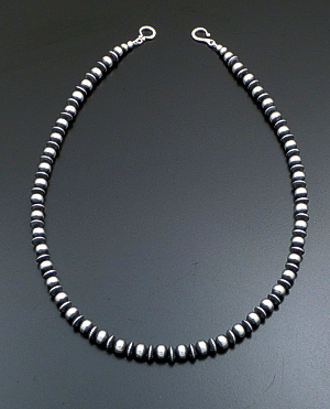 "Marilyn Platero (Navajo) - 20"" 7mm Mixed Burnished Sterling Silver Bead Necklace #39428 $250.00"