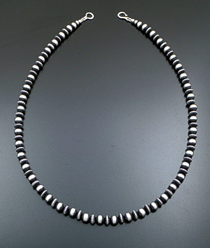"Marilyn Platero (Navajo) - 24"" 8mm Mixed  Burnished Sterling Silver Bead Necklace #39433 $350.00"