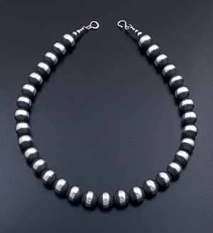 "Marilyn Platero (Navajo) - 20"" 14mm Navajo Pearl Burnished Sterling Silver Bead Necklace #39472 $610.00"