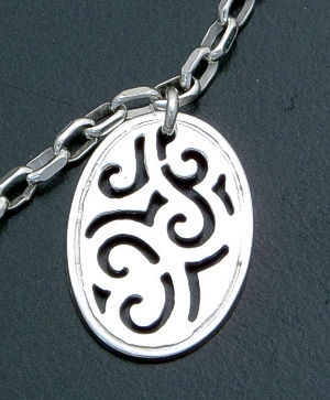 "Zina - 16"" Lace Swirl Stelring Silver Double Pendant Necklace #39601 $135.00"