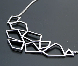 "Zina - 17"" Prism Sterling Silver Panel & Chain Necklace #39608 $225.00"