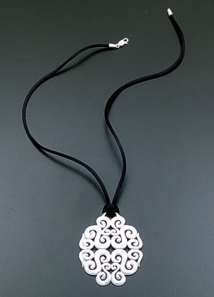 "Zina - 17"" Seville Large Sterling Silver Pendant & Silk Cord Necklace #39619 $225.00"