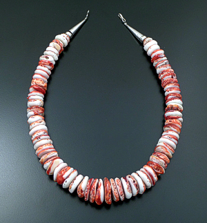 "Santo Domingo - 19"" Large White & Red Spiny Oyster Shell Rondelle Necklace #39908 $175.00"