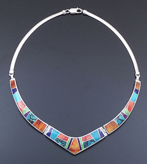 "Supersmith Inc. - David Rosales Designs - 16.5"" Indian Summer Inlay & Sterling Silver Omega Panel Necklace #39939 Style N158 $825.00"