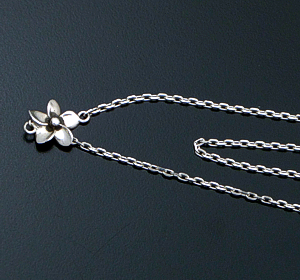 "Zina - 51"" Hibiscus Flower Sterling Silver Chain Necklace #40278 $325.00"