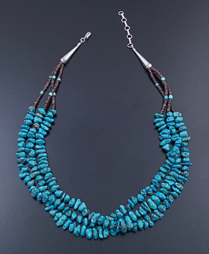 "Santo Domingo - 17"" Three Strand Turquoise Nugget & Shell Heishi Bead Necklace #40523 $225.00"