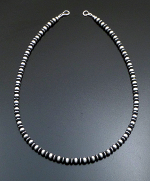 "Marilyn Platero (Navajo) - 24"" 7mm Mixed Burnished Sterling Silver Bead Necklace #40732 $295.00"