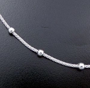 "Italian - 16"" Bead Accented Round Sterling Silver Woven Chain Necklace #40840 $35.00"