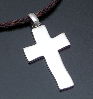 "Zina - 20"" Sterling Silver Cross & Braided Brown Leather Pendant Necklace #40850 $225.00"